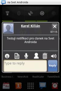 Handcent SMS: Notifikační okno