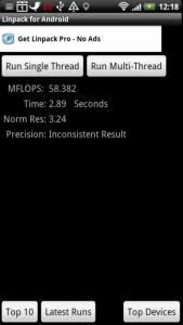 Výsledky benchmarku Linpack