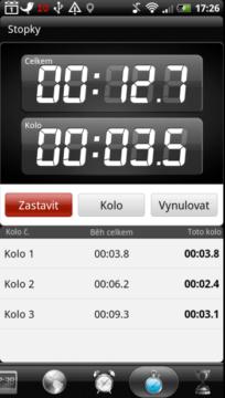 Stopky schopné měřit časy v jednotlivých kolech