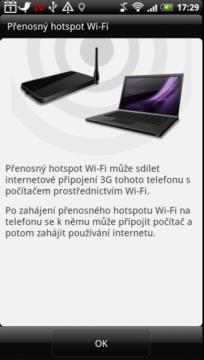 Hotspot Wi-Fi vás pouze přepne na příslušné místo v nastavení