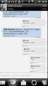 Přehled dosavadní SMS konverzace s kontaktem