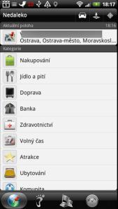 Locations nabízí seznam míst, roztříděný do kategorií