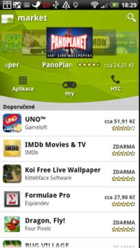 Android Market slouží ke stahování, aktualizaci a nakupování aplikací