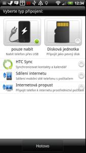 Při připojení telefonu k počítači kabelem je nabídnuta řada možností