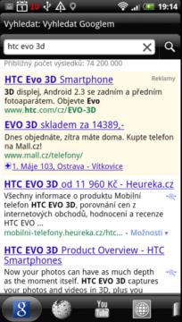Rychlé hledání vám najde zadaný výraz na Google, ve Wikipedii, na Youtube, v překladači, nebo slovníku