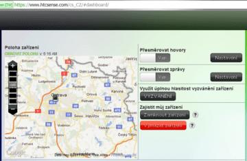 Přes web HTC Sense můžete zjistit polohu telefonu a ovládat ho na dálku
