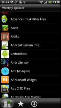 Nainstalované aplikace ve formě seznamu