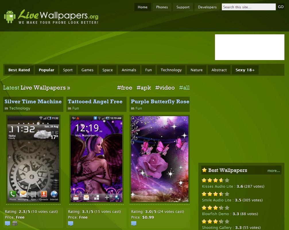 Hlavní stránka webu LiveWallpapers.org