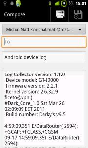 Log Collector - odeslání logu přes Gmail