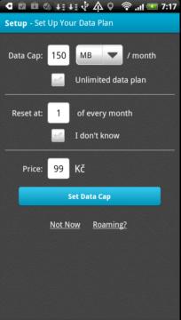 Nastavení FUP, ceny a dne v měsíci, kdy se má nulovat počítadlo