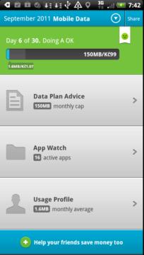 Úvodní obrazovka Onavo Lite