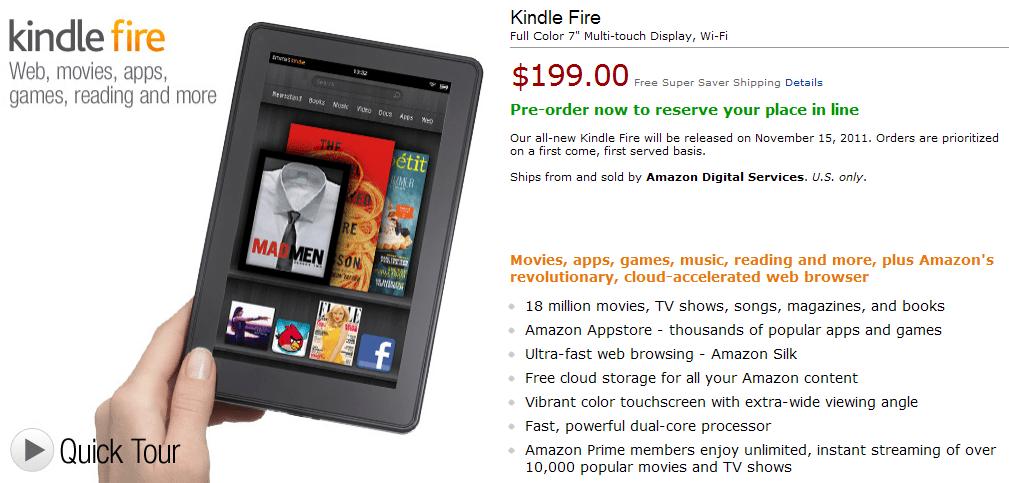 Předobjednávka Kindle Fire