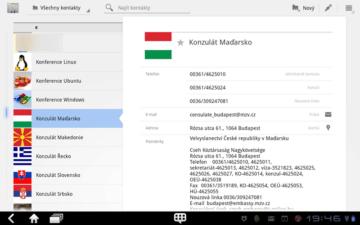 Kontakty jsou prezentovány ikonou, jménem a příjmením, po výběru se v pravé části obrazovky zobrazí veškeré informace