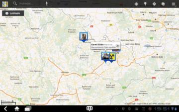 V aplikaci Latitude můžete sledovat své přátele na mapě