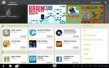 Android Market v úpravě pro tablety