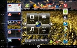 V dolní liště je tlačítko pro vyvolání seznamu posledních spuštěných aplikací, ze kterého lze programy přímo ukončovat.