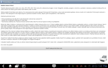 Informace k aplikaci PrinterShare