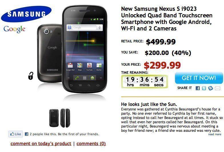 Samsung Nexus S za $299