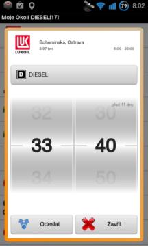 Pokud zjistíte, že se na benzínce změnila cena, můžete ji aktualizovat