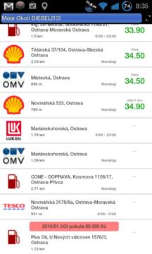 Přehled čerpacích stanic s cenou, otevírací dobou, adresou a informaci o pokutě od ČOI