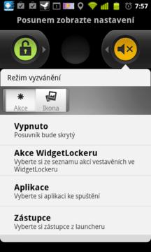 Posuvníkům lze přiřadit různé funkce telefonu