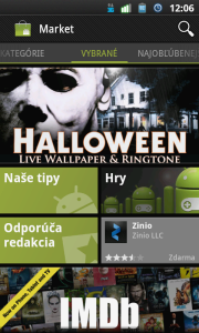 Android Market úvodní obrazovka