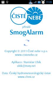 Po otevření si SmogAlarm z Internetu stáhne aktuální data