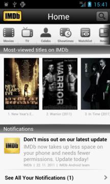 IMDb – úvodní obrazovka