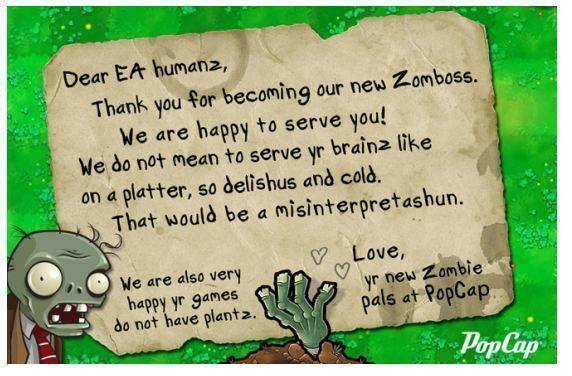 Takto na převzetí PopCap Games společností EA zareagovali samotní vývojáři ;)