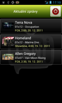 TSN – úvodní obrazovka