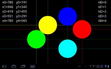 Multitouch Test - displej zvládá 5 dotyků