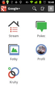 Úvodní obrazovka Google+