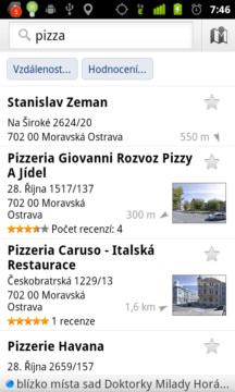 V aplikaci Místa můžete vyhledávat a hodnotit firmy či podniky