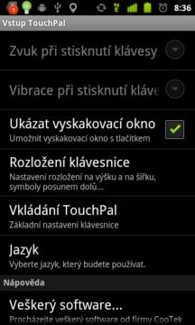 Vstup TouchPal vede do nastavení výchozí klávesnice