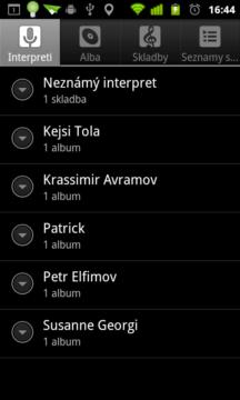 Nalezené skladby podle jména interpreta....