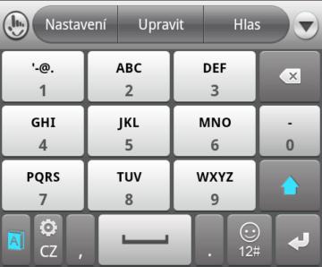 TouchPal nabízí také rozložení 3 x 4...
