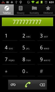 Sekce Telefon nabízí pouze číselník