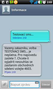 Ukázka SMS konverzace