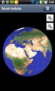 Glób pro výběr města do seznamů aplikace světový čas