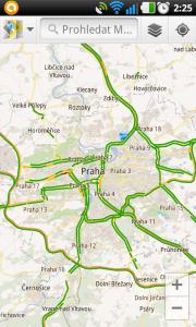 Zobrazení dopravní situace v Praze