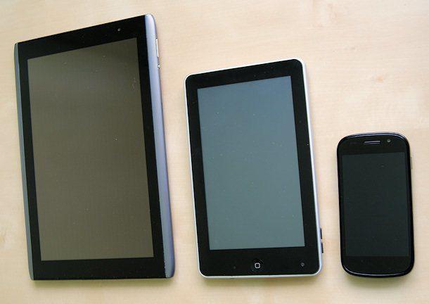 Srovnání velikostí – Acer Iconia TAB A500 (10″), iRobot aPad (7″), Google Nexus S (4″)