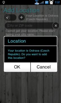 Při prvním spuštění se aplikace pokusí lokalizovat aktuální polohu