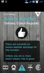 Tato obrazovka by měla ukazovat varování a upozornění na nepříznivé meteorologické jevy