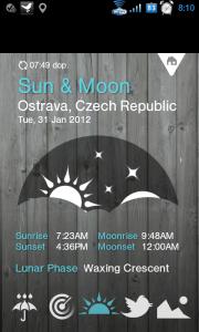 Časy západu a východu Slunce a Měsíce a aktuální měsíční fáze