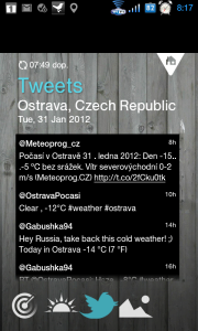 Tweety o počasí v dané oblasti