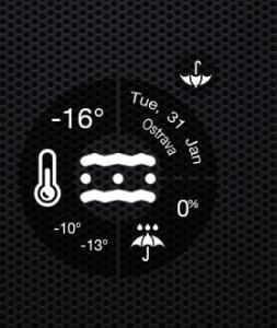 Widget ukazuje teplotu, meteorologickou situaci a předpověď.