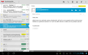 Provedení pro tablety je velmi praktické, program podporuje barevné štítky, prioritní poštu