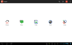 Na tabletu je prostředí aplikace Google+ poněkud roztahané