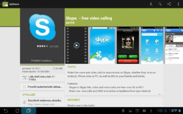 Také Android Market je ve verzi se dvěma panely