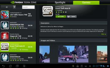 V TegraZone si můžete přečíst novinky z herního průmyslu a nakoupit hry